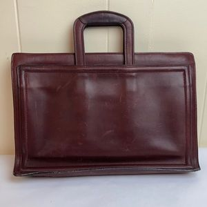Vintage 70s 80s C&C Oxblood Leather Briefcase Tote